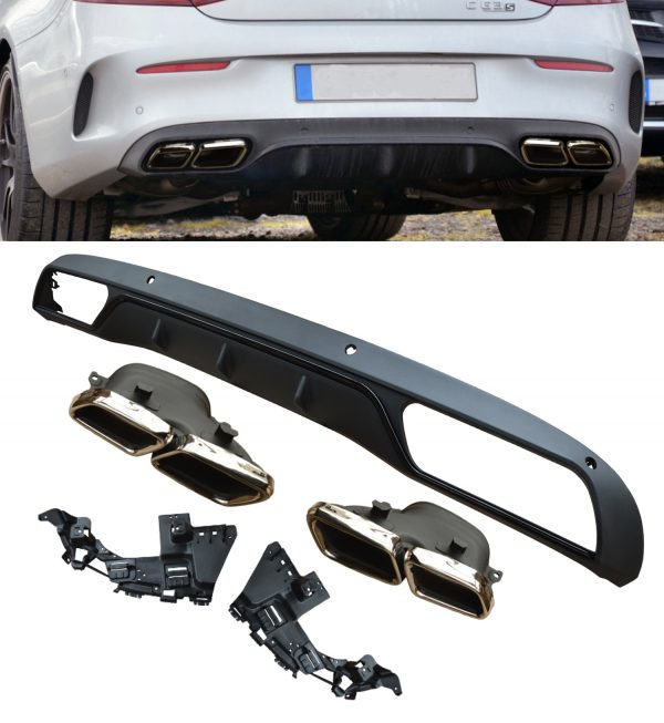MERCEDES C CLASS W205 C205 C63 LOOK REAR DIFFUSER VALANCE WITH TAILPIPE BLACK