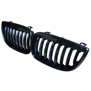 BMW 1-SERIES E87 5D FRONT KIDNEY GRILLES CARBON LOOK OEM FIT 2005-2007