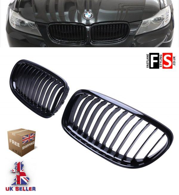 BMW E90 E91 3 SERIES 09-13 KIDNEY GRILLE LCI FACELIFT GLOSS BLACK 100% OEM FIT
