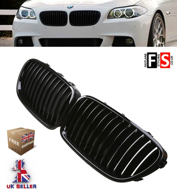 BMW F10 F11 F18 5 Series Kidney Grill Grille Grills Gloss Black 2010 UP OEM FIT