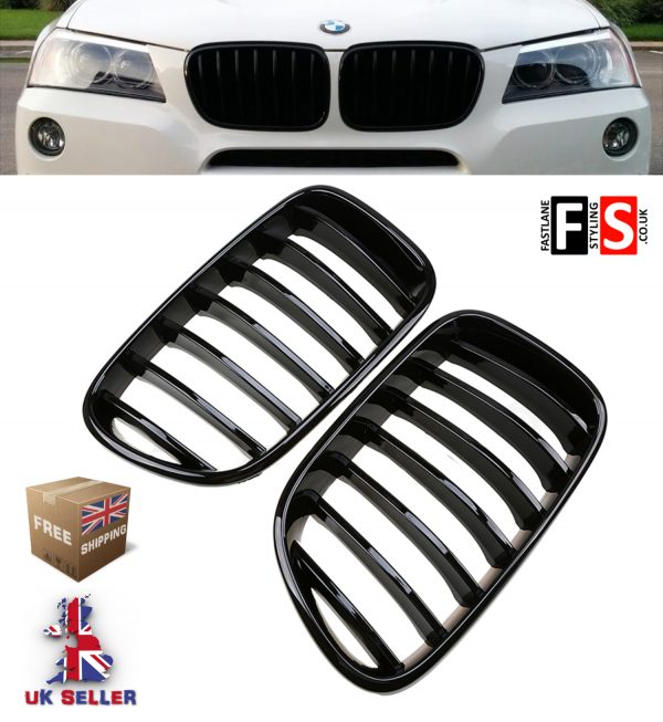 BMW X3 F25 2011-2014 Front Kidney Grille Set High Gloss Black 100% OEM fit