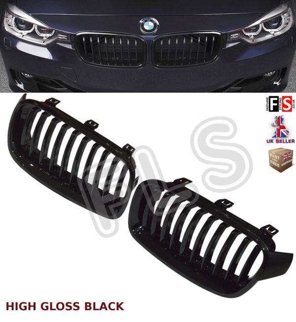 BMW 3 SERIES F30 F31 2011-2016 FRONT KIDNEY GRILLE GLOSS BLACK 100% OEM FIT