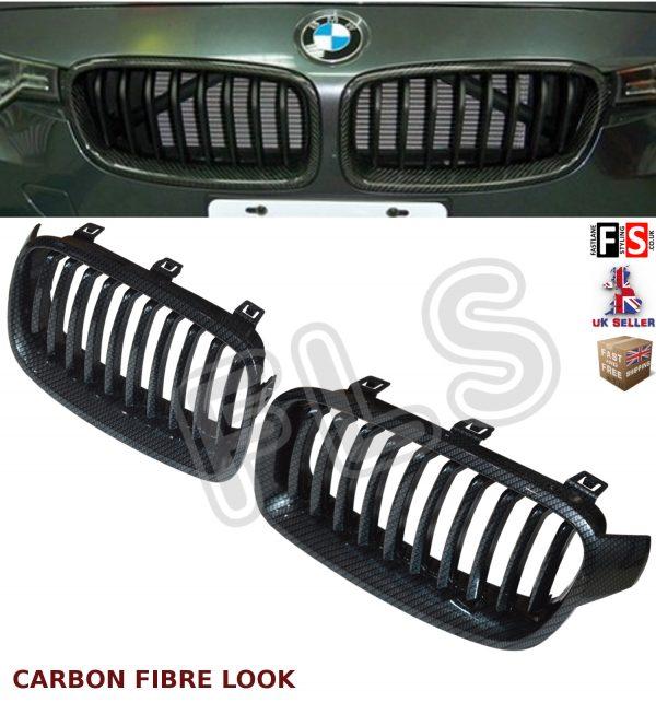 BMW 3 SERIES F30 F31 2011-2016 FRONT KIDNEY GRILLE CARBON FIBRE LOOK OEM FIT