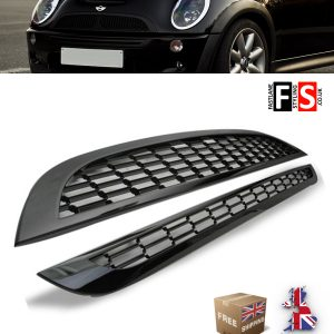 MINI COOPER & S R50 R52 R53 UPPER LOWER BONNET MESH GRILLES GLOSS BLACK OEM FIT