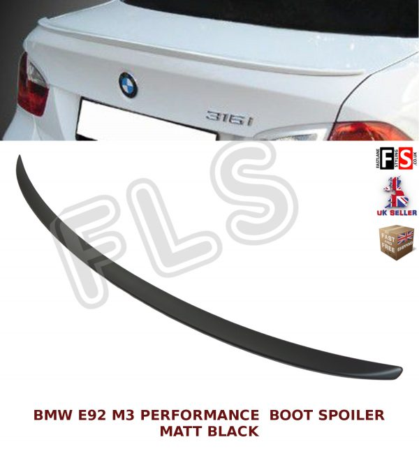 BMW 3 SERIES E92 COUPE PERFORMANCE REAR TRUNK BOOT SPOILER MATTE BLACK OEM FIT