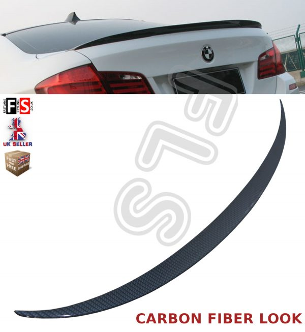 BMW 5 SERIES F10 REAR TRUNK BOOT LIP SPOILER M SPORT 10-16 CARBON FIBER LOOK ABS