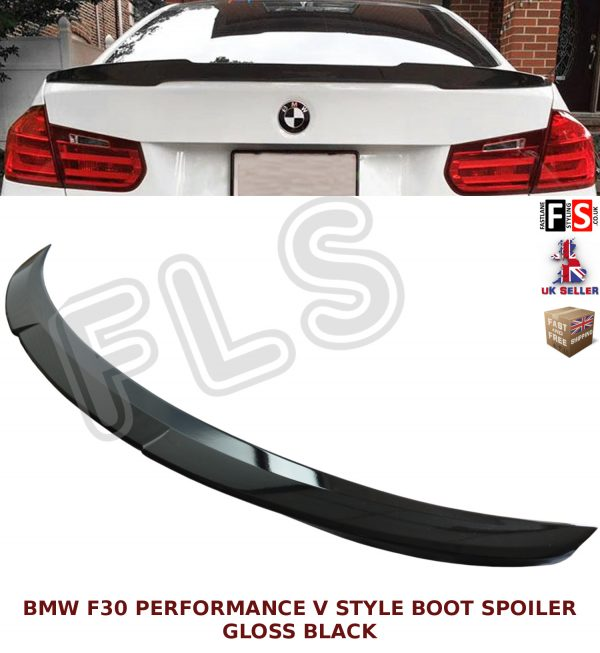 BMW 3 SERIES F30 F80 (M3 M4 V STYLE) REAR BOOT SPOILER GLOSS BLACK 100% OEM FIT