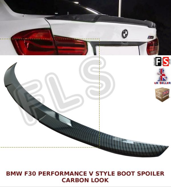 BMW 3 SERIES F30 F80 M3 M4 PERFORMANCE V STYLE BOOT SPOILER CARBON LOOK OEM FIT