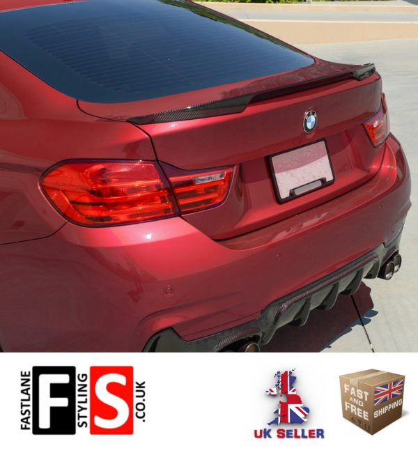 BMW 4 SERIES F36 4D GRAN COUPE REAR TRUNK BOOT LIP SPOILER 2014 UP CARBON LOOK