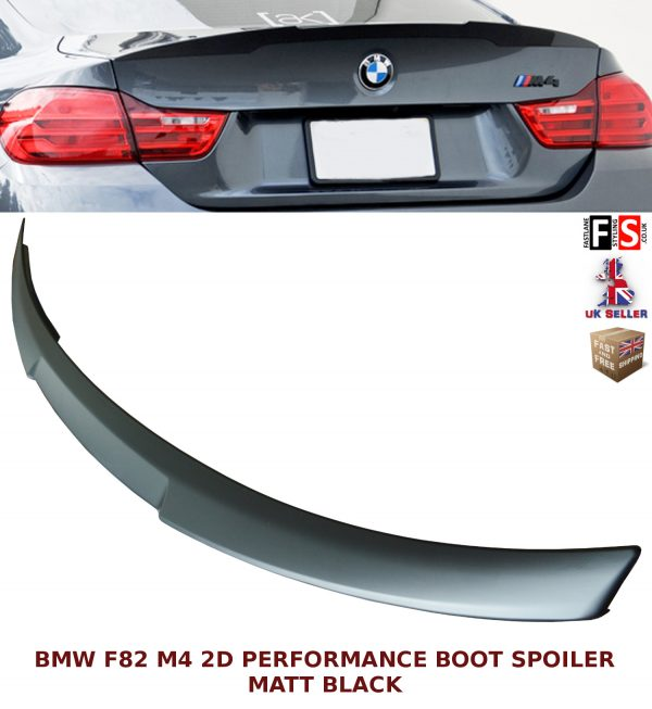 BMW 4 SERIES F82 M4 COUPE PERFORMANCE REAR TRUNK BOOT SPOILER MATT BLACK OEM FIT