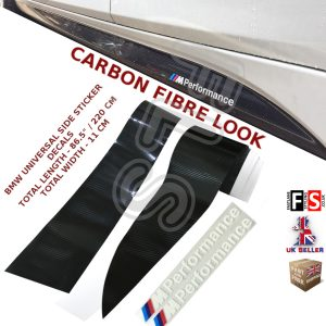 BMW M PERFORMANCE SIDE STICKER SKIRTS DECALS VINYL CARBON LOOK