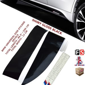 BMW M PERFORMANCE SIDE STICKER SKIRTS DECALS VINYL GLOSS BLACK