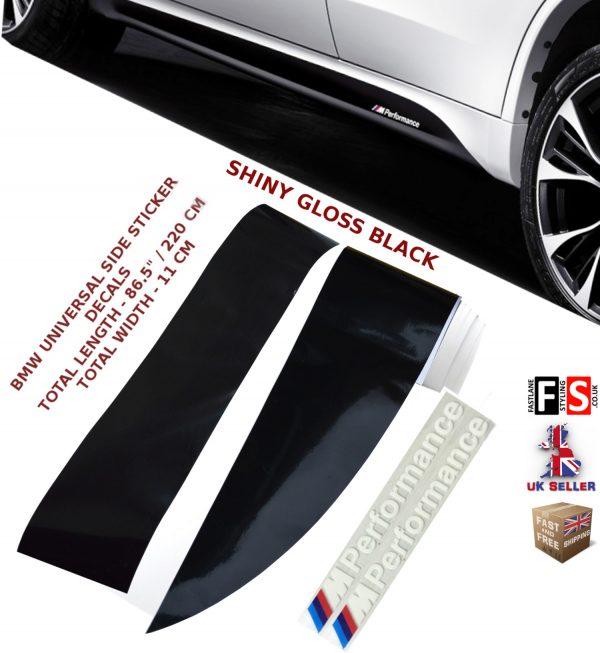BMW M PERFORMANCE SIDE STICKER SKIRTS DECALS VINYL GLOSS BLACK