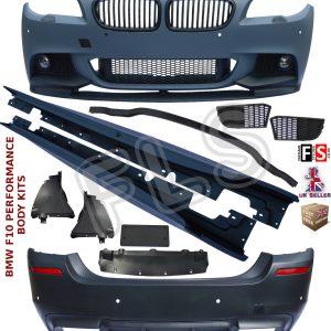 BMW F10 FULL BODY KIT SPORT BUMPER + SIDE SKIRTS + FOR M-PERFORMANCE SPLITTER