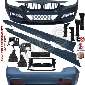 BMW F30 FULL BODY KIT SPORT BUMPER + SIDE SKIRTS + FOR M-PERFORMANCE SPLITTER