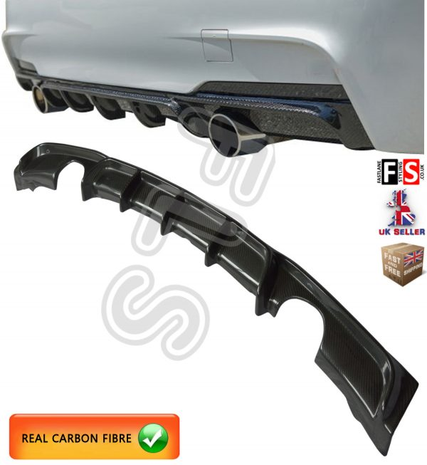 BMW 3 SERIES F30 F31 M-SPORT PERFORMANCE DUAL REAR DIFFUSER VALANCE CARBON FIBRE