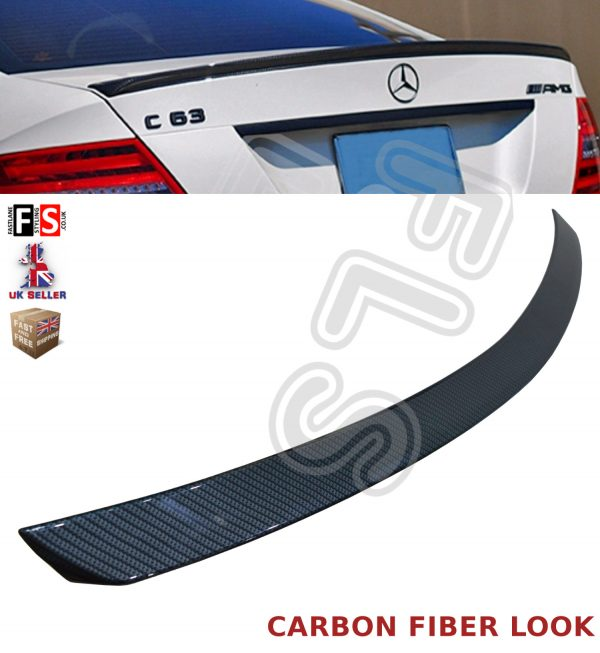 MERCEDES C CLASS W204 SALOON AMG STYLE REAR TRUNK BOOT SPOILER 08-14 CARBON LOOK