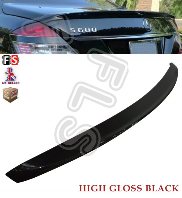 MERCEDES S CLASS W221 AMG REAR BOOT LIP SPOILER 2007-2013 GLOSS BLACK OEM FIT
