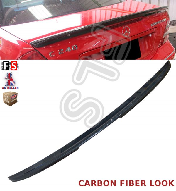 MERCEDES SL R230 CARBON FIBER LOOK AMG STYLE REAR BOOT LIP SPOILER 100% OEM FIT