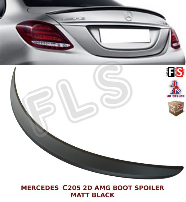 MERCEDES C CLASS CONVERTIBLE A205 AMG STYLE REAR BOOT SPOILER MATTE BLACK OEM FIT