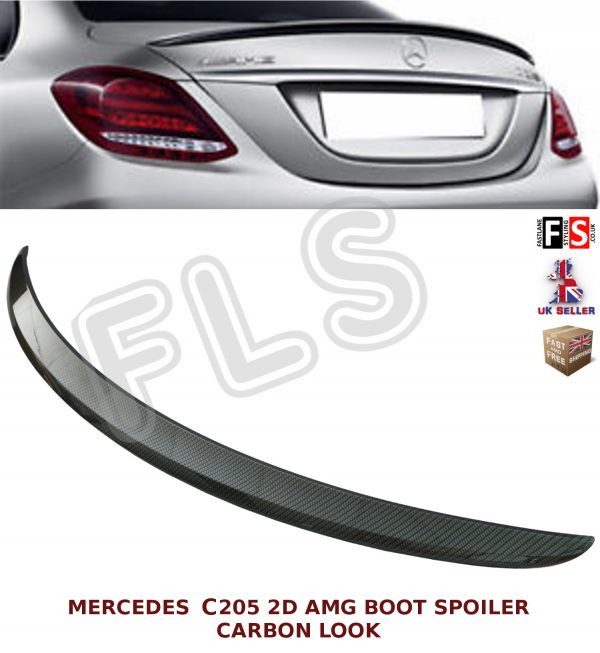 MERCEDES C CLASS A205 C205 COUPE AMG STYLE REAR TRUNK BOOT SPOILER CARBON LOOK