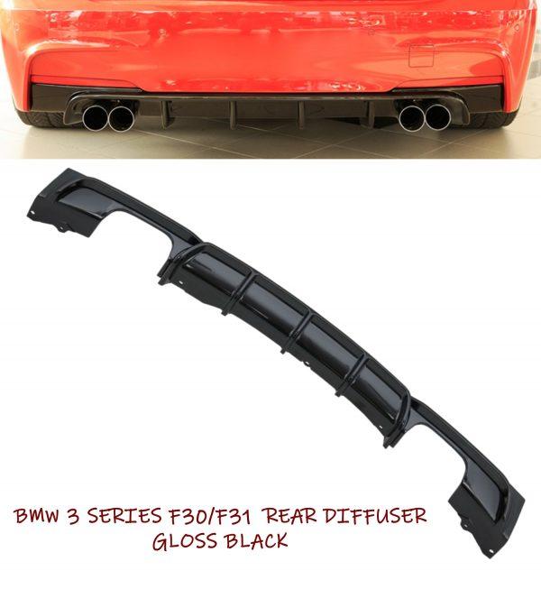 BMW 3 SERIES F30 F31 M-SPORT PERFORMANCE QUAD REAR DIFFUSER VALANCE GLOSS BLACK