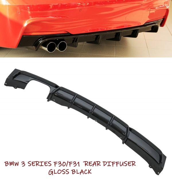 BMW 3 SERIES F30 F31 M PERFORMANCE REAR BUMPER DIFFUSER TWIN EXHAUST GLOSS BLACK