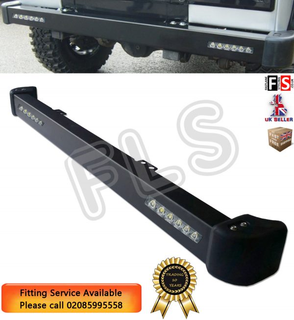 STEEL FRONT BUMPER WITH LED DRL LIGHTS & RUBBER END CAPS FOR LAND ROVER DEFENDER