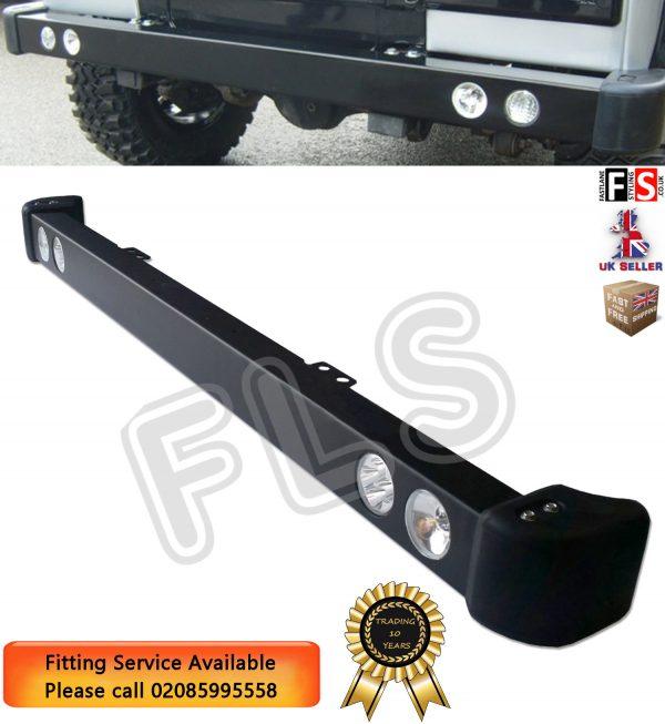 STEEL FRONT BUMPER LED DRL & SPOT LIGHTS & RUBBER CAPS FOR LAND ROVER DEFENDER