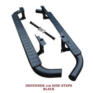 LAND ROVER DEFENDER 110 SIDE STEPS RUNNING BOARDS OEM FIT BLACK EDITION