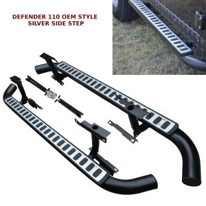 LAND ROVER DEFENDER 110 SIDE STEPS RUNNING BOARDS OEM STYLE & 100% FIT SILVER