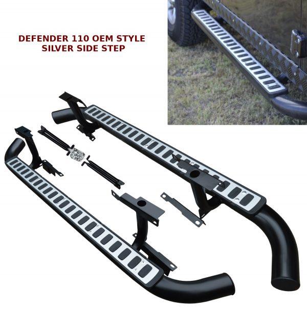 LAND ROVER DEFENDER 110 SIDE STEPS RUNNING BOARDS OEM STYLE & 100% FIT SILVER