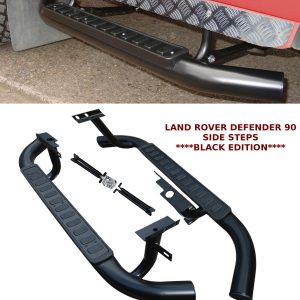 LAND ROVER DEFENDER 90 SIDE STEPS RUNNING BOARDS OEM STYLE BLACK EDITION