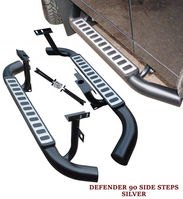 LAND ROVER DEFENDER 90 SIDE STEPS RUNNING BOARDS OEM STYLE SILVER 100% OEM FIT