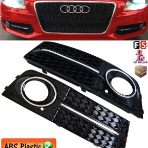 AUDI A4 B8 SE FOG LIGHT COVER GRILLE AUDI S LINE STYLE GLOSS BLACK CHROME 09-11
