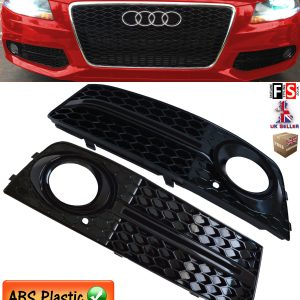 AUDI A4 B8 SE MODEL FOG LIGHT COVER GRILLE AUDI S LINE STYLE GLOSS BLACK 09-11