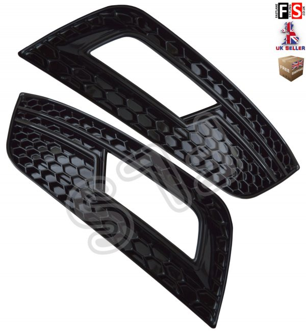 AUDI A4 S4 RS4 B9 FOG LIGHT COVER GRILLE GLOSSY BLACK S LINE STYLE 2013 TO 2015