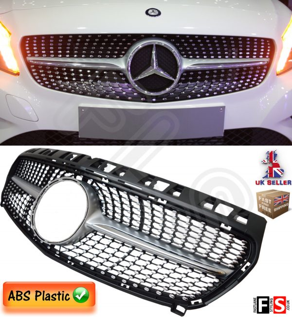 DIAMOND FRONT GRILLE MERCEDES A CLASS W176 2012-2016 ONLY CHROME BADGE GRILL
