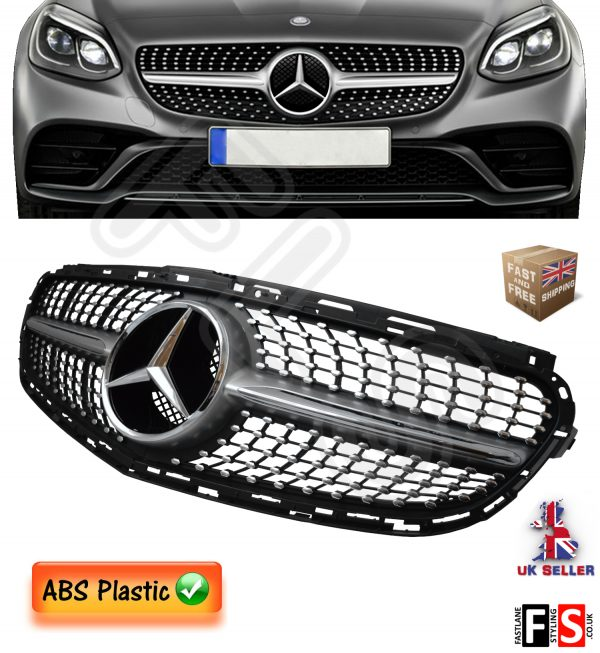 DIAMOND E63AMG LOOK FRONT GRILLE MERCEDES E CLASS W212 2014 UP CHROME BADGE