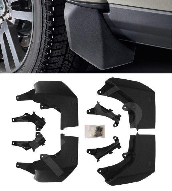 LAND ROVER DISCOVERY 4 10+ FRONT & REAR MUDFLAP SET MUD FLAPS KIT + BRACKETS