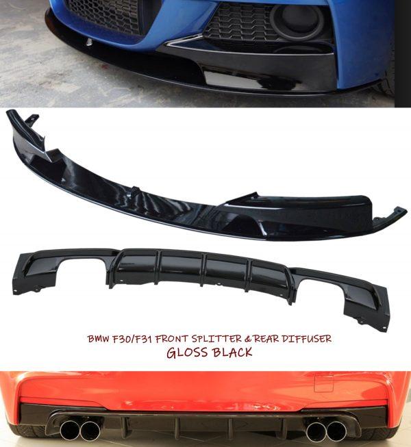 BMW 3 SERIES F30 F31 M SPORT FRONT DIFFUSER SPLITTER & REAR DIFFUSER GLOSS BLACK