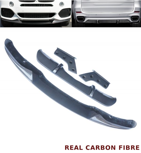 BMW X5 F15 M TYPE BUMPER REAR DIFFUSER + FRONT SPLITTER LIP REAL CARBON FIBRE