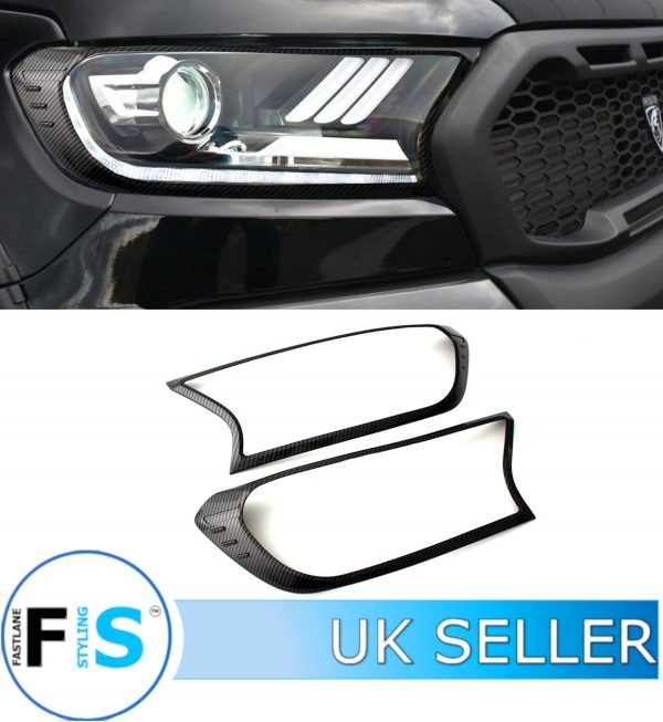 FORD RANGER RAPTOR SATIN CARBON LOOK HEADLIGHT COVER PROTECTOR TRIM