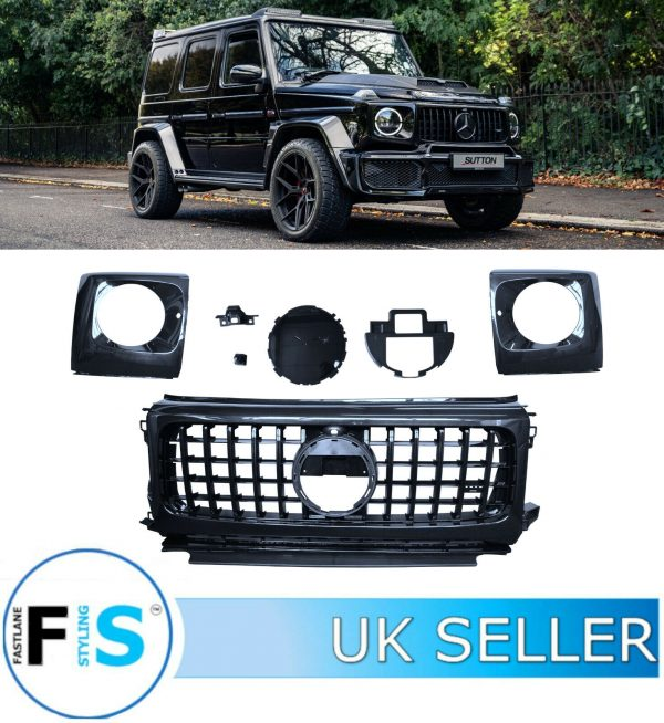 MERCEDES G CLASS W463A GT STYLE GRILLE & HEAD LIGHT COVER