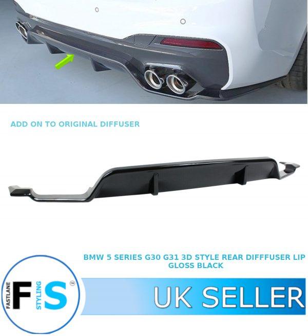 BMW 5 SERIES G30 G31 M PERFORMANCE REAR BUMPER DIFFUSER 3D STYLE