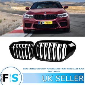 BMW 5 SERIES G30 G31 2017+ GLOSS BLACK FRONT KIDNEY GRILL