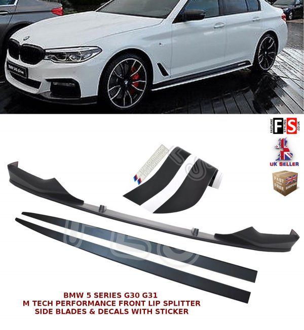 BMW 5 SERIES G30 G31 M SPORT FRONT SPLITTER SIDE EXTENSION BLADES & VINYL DECALS