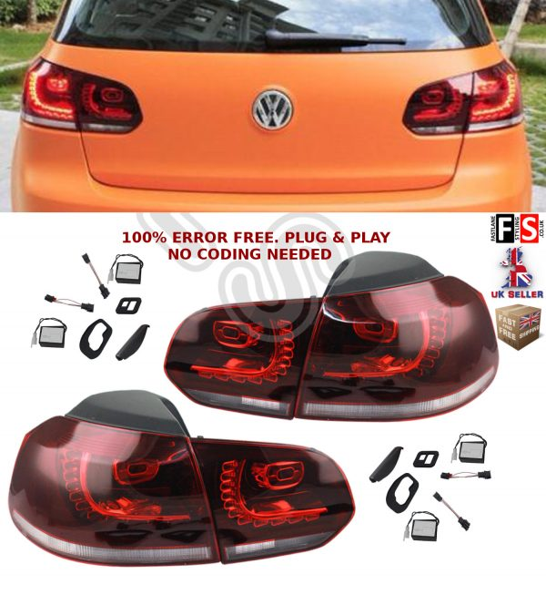 VW LED REAR TAIL LIGHTS LAMPS PAIR FOR VW GOLF MK6 CLEAR RED OEM FIT NO ERROR