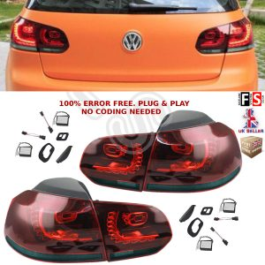 VW LED REAR TAIL LIGHTS LAMPS PAIR FOR VW GOLF MK6 SMOKE RED OEM FIT NO ERROR