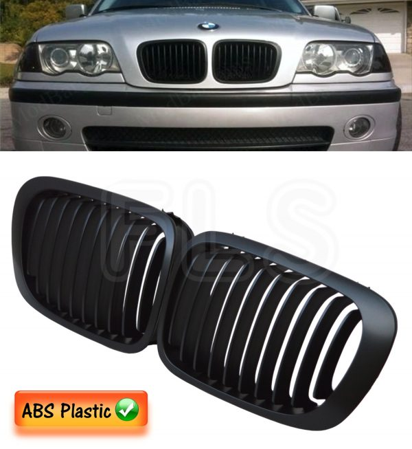 BMW E46 3 SERIES (2DR) 1998 – 2001 FRONT KIDNEY GRILLE – MATTE BLACK 100 OEM FIT